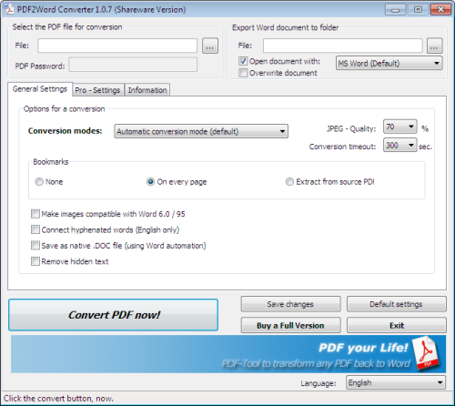 PDF2Word Converter by 7PDF Screen shot