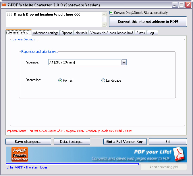 7-PDF Website Converter screenshot: url to pdf, html to pdf, webpdf, website to pdf
