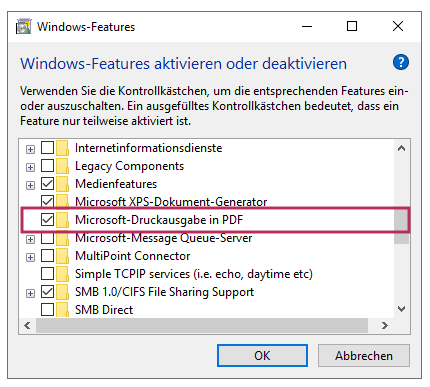 Feature Print to PDF hinzufügen unter Windows 10
